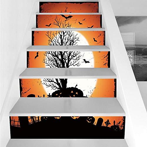 Stair Stickers Wall Stickers,6 PCS Self-Adhesive,Vintage Halloween,Grunge Halloween Image with Eerie Atmosphere Graveyard Bats Pumpkins,Orange Black,Stair Riser Decal for Living Room, Hall, Kids Room ()