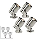 4 ProTrack Brushed Steel 8'' H Accent Lights W/ 4 LED Bulbs