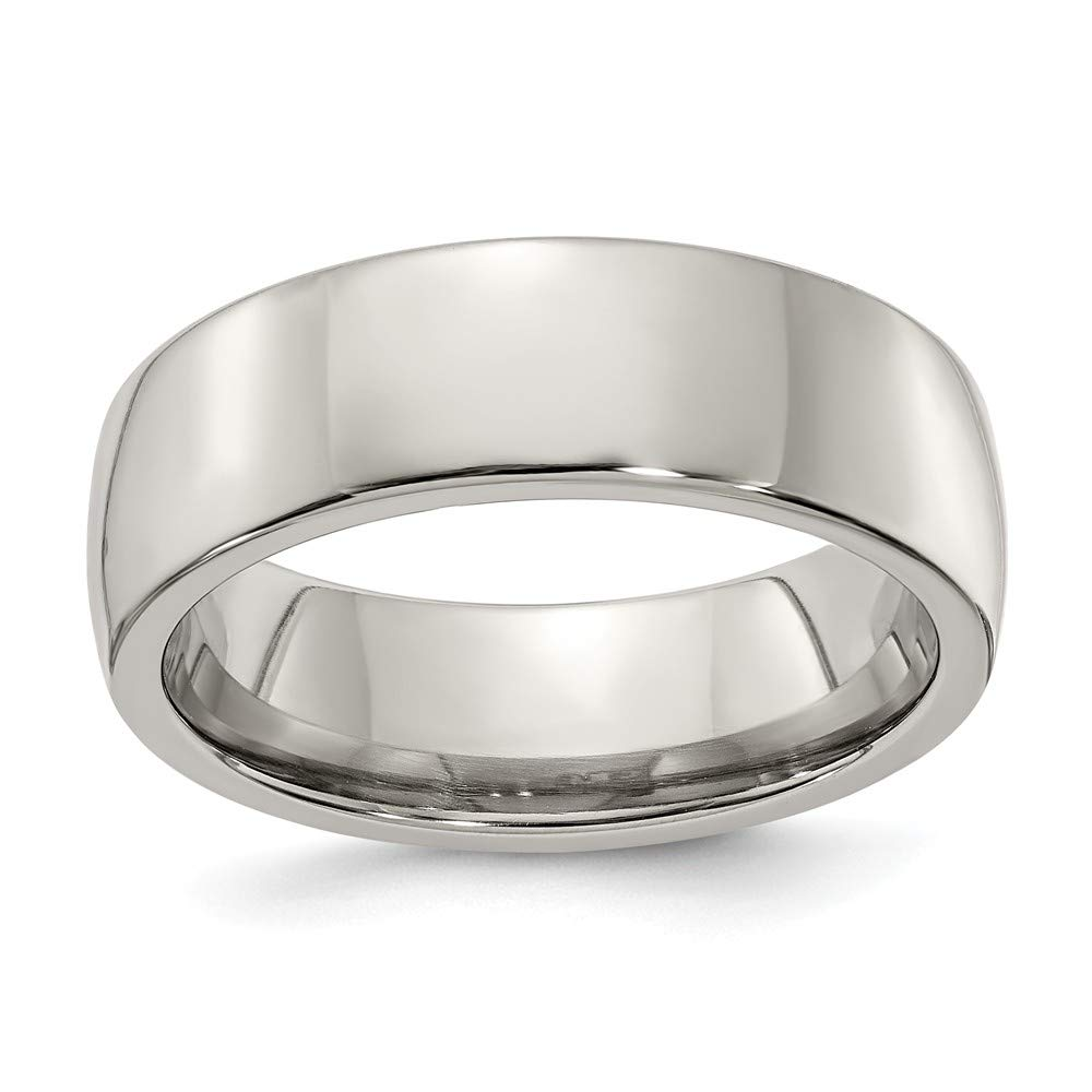 Edward Mirell Polished Titanium Classic Domed 7mm Wedding Band - Size 7