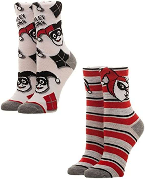 c9d98880209a6 Harley Quinn Juniors 2 Pack Crew Sock Set Standard at Amazon Women s  Clothing store