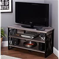 Corner TV Stands For Flat Screens Rustic Wood And Metal Media Storage in Grey