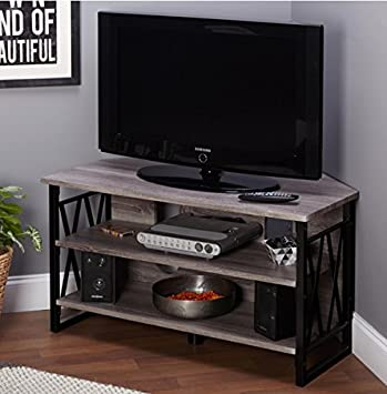 Incroyable Corner TV Stands For Flat Screens Rustic Wood And Metal Media Storage In  Grey