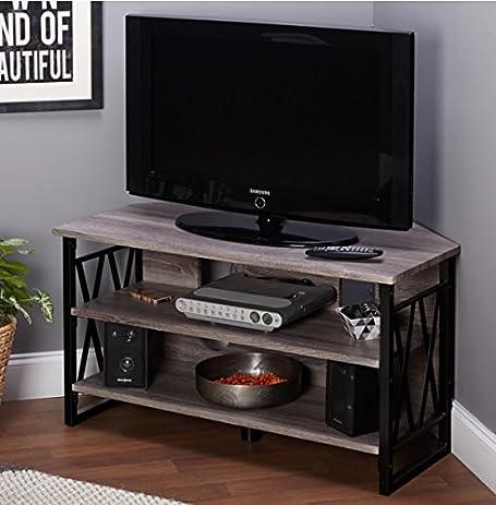 corner tv stands for flat screens rustic wood and metal media storage in grey