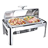 Food Warmers Buffet and Plate Warmer, Chafing Dishes and Warmers, Buffet Warmer Server Commercial Stainless Steel Food Warmer with Fuel Bracket for Parties Dining Hall and CateringFull Size with 1/2 Inserts