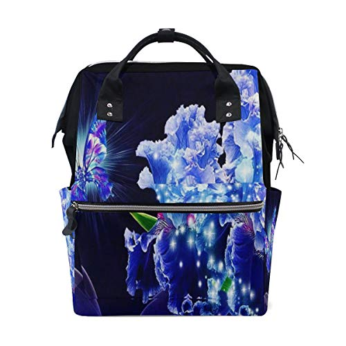 (HangWang Diaper Bags Beautiful Blue Butterfly Flowers Fashion Mummy Backpack Multi Functions Large Capacity Nappy Bag Nursing Bag for Baby Care for Traveling)