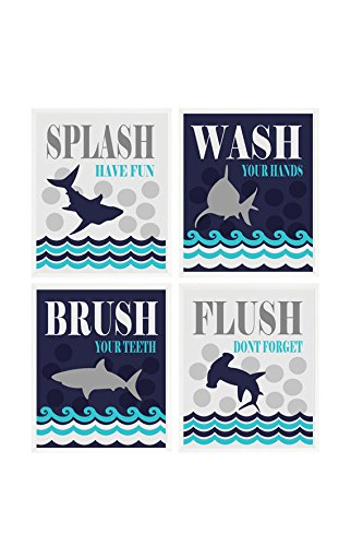 Kids Shark Bathroom Wall Art, Kids Bathroom, Wash, Flush, Brush, Splash, Shark Bathroom Theme, Shark Art, Boy Bathroom, Child Bathroom -