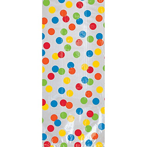 Polka Dot Cello Bags (Fun Rainbow Birthday Party Cello Bags , Pack of 20, Multi , 9 1/2