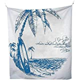 QINYAN-HOME Polyester Tapestry Multi Purpose (51W x 60L INCH Wall Hanging Bedroom Living Room DormSurf Decor Contemporary Sketch Illustration Hawaiian Beach Surfboard Palm Tree Ocean Water Blue