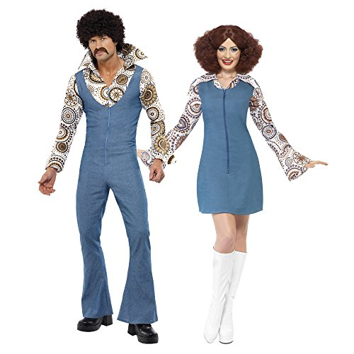 Amazon.com  Smiffy s Men s Groovy Dancer Costume Jumpsuit with Attached  Mock Shirt  Clothing 37b3abe13ca