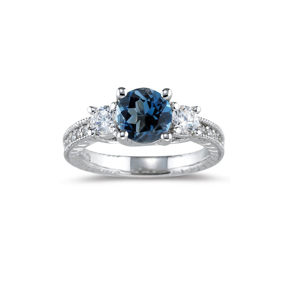 0.55 Cts Diamond & 1.42 Cts London Blue Topaz Ring in 14K White Gold-6.0