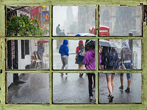 Window View Wall Mural People Walking in the Rain on the Street Vintage Style Wall Decor Peel and Stick Adhesive Vinyl Material