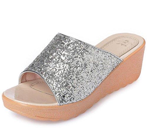 cuña DANDANJIE Aire 35 de de talón Zapatos Confort caseros del tamaño al Las Zapatillas la Sandalias Zapatillas Mujeres Libre de Verano Plata 42 qrUzqFx
