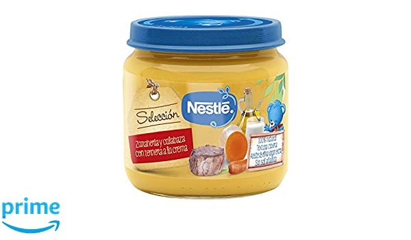 Nestlé Selección puré de verduras y carne, variedad Zanahoria y Calabaza con Ternera - Para bebés a partir de 6 meses - Paquete de 6 Tarritos de 190g: ...