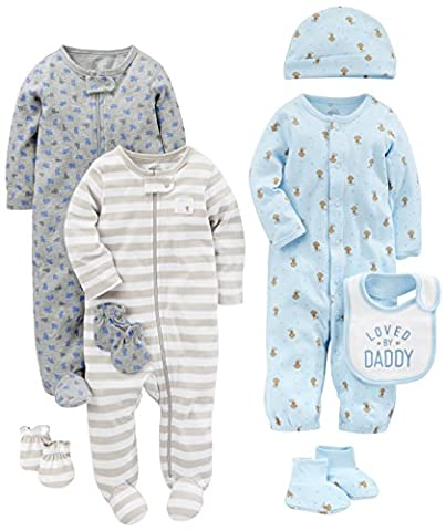 Simple Joys by Carter's Boys' 8-Piece Footed Take Me Home Set, Blue/Grey, 0-3 Months - Infant Footed Sleepwear