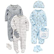 Simple Joys by Carter's Boys' 8-Piece Footed Take Me Home Set, Blue/Gray, 0-3 Months