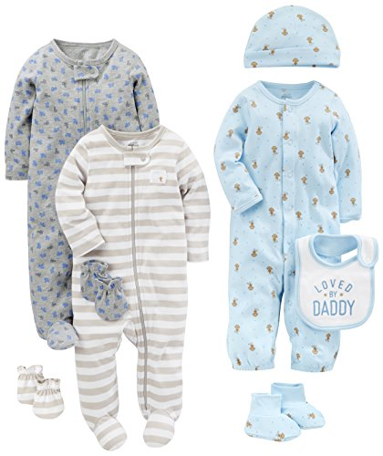 Set Footed (Simple Joys by Carter's Boys' 8-Piece Footed Take Me Home Set, Blue/Gray, 0-3 Months)