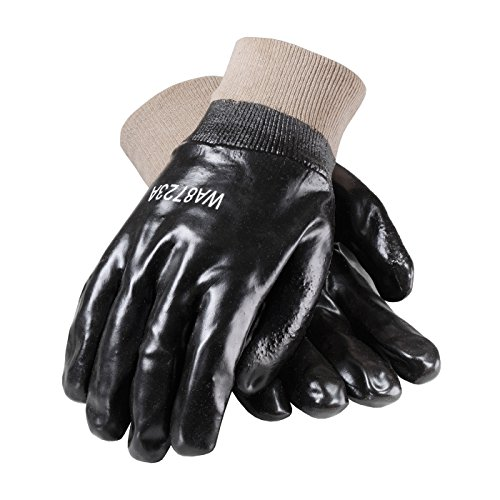 ProCoat 58-8015 PVC Dipped Glove with Interlock Liner and Smooth Finish, Knit Wrist