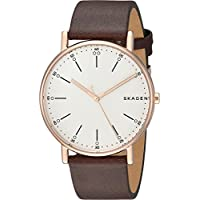 Skagen Men's 'Cny' Quartz Stainless Steel and Leather Casual Watch, Color:Brown (Model: SKW6431)