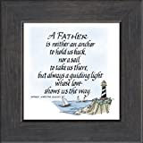 "Father Saying Lighthouse Frame Black 3.5""x3.5"" Gift Inspirational with Built in Easel"