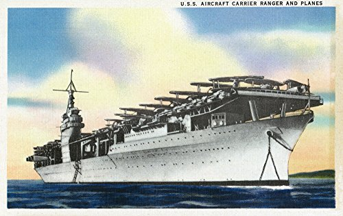 (View of USS Ranger Aircraft Carrier and Planes (9x12 Fine Art Print, Home Wall Decor Artwork Poster) )