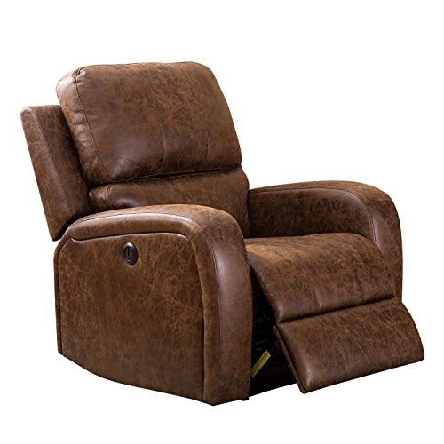 Cheap BONZY Power Recliner Chair Leather Look Cover with Overstuffed Head Cushion Modern Electirc Recliner Chair – Brown