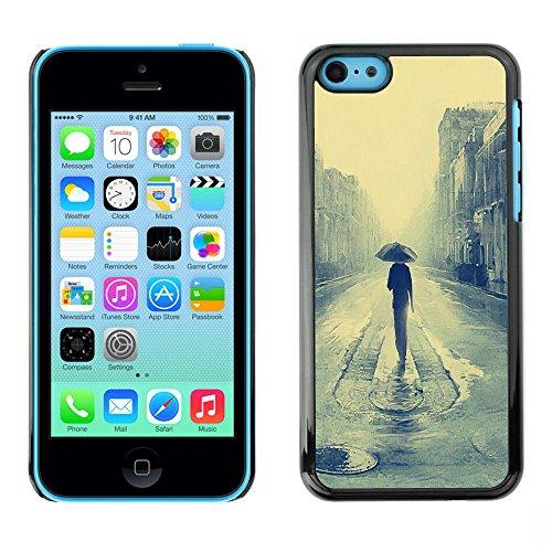 PHONE CASE GIFT // Duro Estuche protector PC Cáscara Plástico Carcasa Funda Hard Protective Case for iPhone 5C / Londres lluvioso Pintur