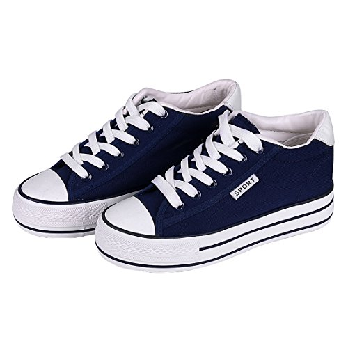 Shevalues Canvas Platform Sneakers High Heel Sneakers Casual Navy Blue Lace Up Wedge Sneakers for Women Navy,Navy,US 7 / EU39 - High Heel Sneaker Shoes