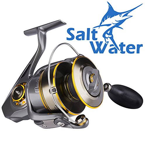 Spinning Reel Saltwater Fishing Reels for Inshore Beach Surf Casting Saltwater Spinning Reel, Offshore Boat Jigging Saltwater Reels or Sea Kayak Bass Fishing Reel - Heavy Duty Surf Fishing Reels 9000 (Friction Ratchet Handle)