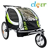 Clevr collapsible 2-in-1 Double Bicycle Trailer Baby Bike Jogger/Stroller, Green