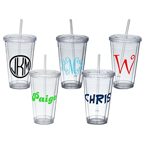 Personalized Insulated Tumbler with Straw and Lid]()