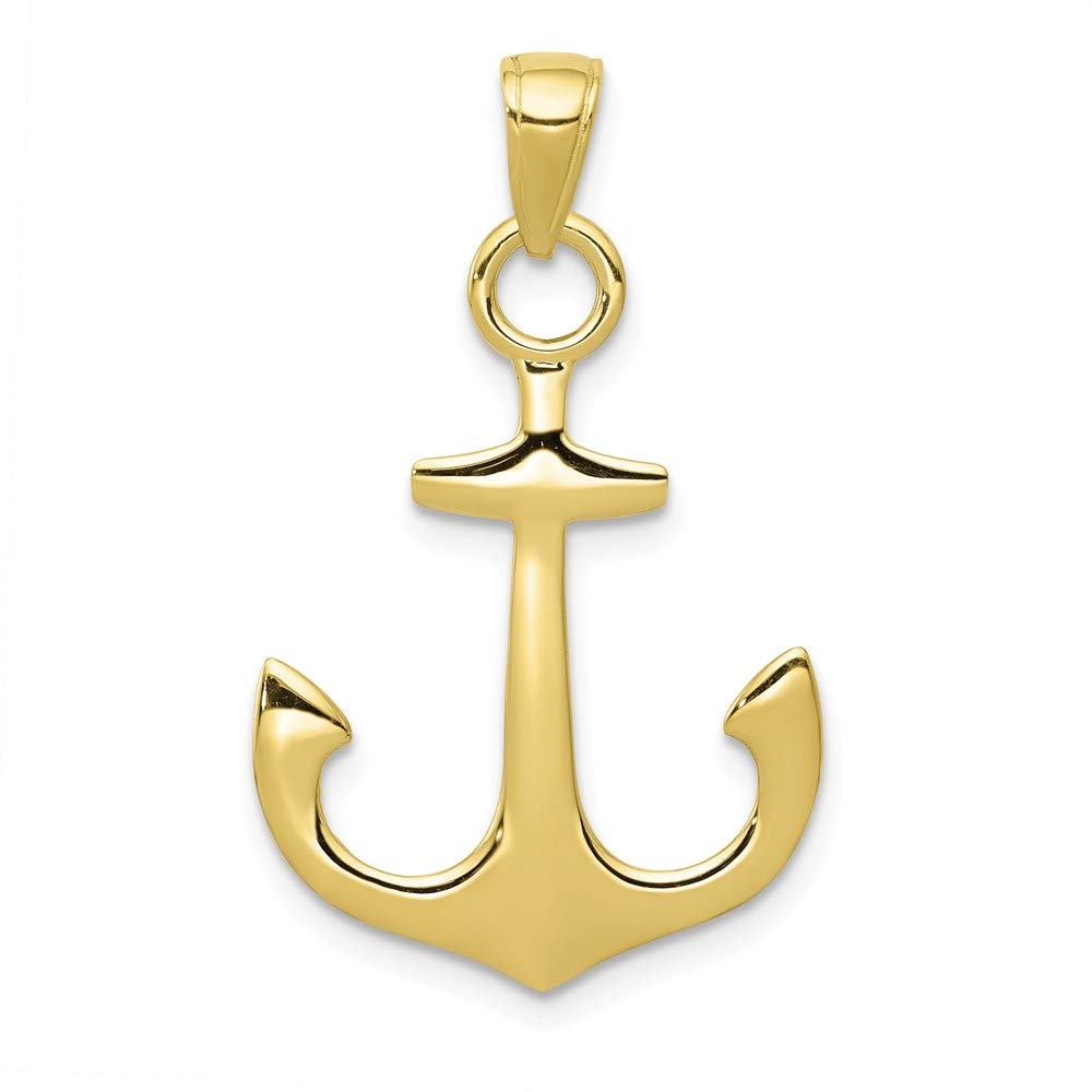 Jewels By Lux 10K Yellow Gold 3D Anchor High Polish Pendant