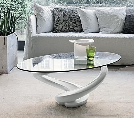 Mocada Tango Tavolino da Salotto in agglomerato e Cristallo - Bianco
