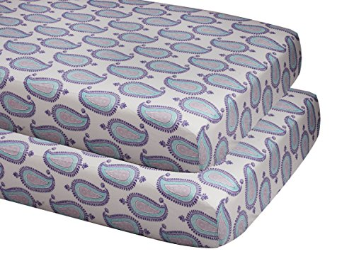 Bacati Isabella Girls Paisley 2 Piece Crib/Toddler Fitted Sheet, Lilac/Purple/Aqua