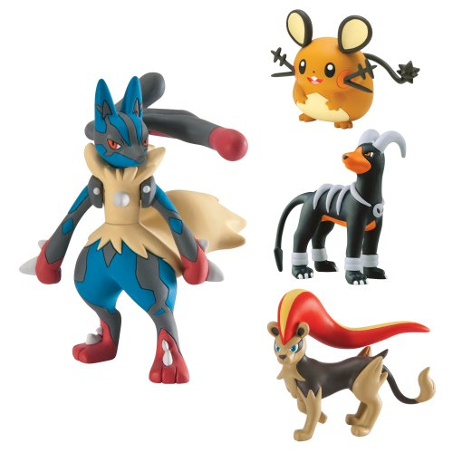 Pokémon 4 Figure Gift Pack Mega Evolution Lucario Pyroar Dedenne
