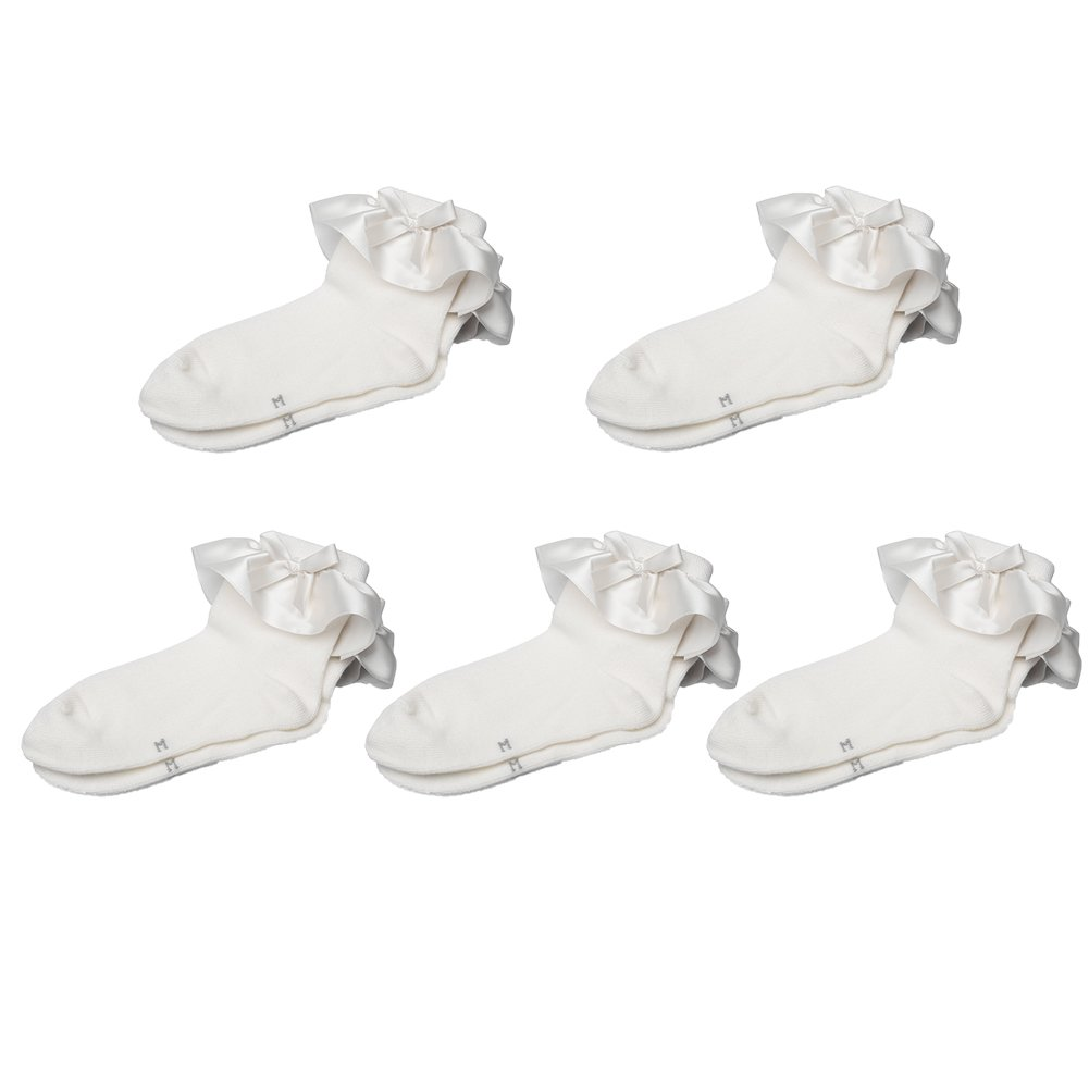Maxu Set of 5 Girl Cotton Satin Frilly Lace Socks for Toddler,S, White