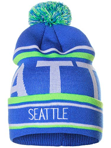 American Cities Seattle Over Sized City Letters Pom Pom Knit Hat Cap ()