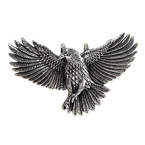 Sterling Silver Soaring American Eagle Pendant 1 3/4 Inches Wide