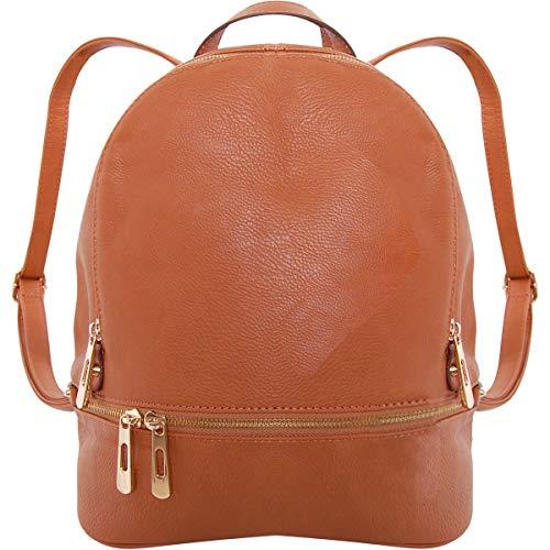 Humble Chic Vegan Leather Backpack Purse Small Fashion Travel School Bag Bookbag, Saddle Brown, Camel, Tan, Cognac, Walnut
