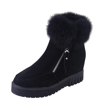 Damen Stiefel Winter Warm, Mumuj Modischen Seitlicher Reißverschluss  Schneestiefel Velvet Erhöhung Reissverschluss Stiefel Flach Soft e52588014e