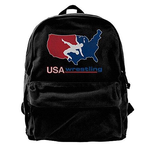 IEUBAG Canvas Backpacks USA Wrestling Canvas Backpack Travel Rucksack Backpack Daypack Knapsack Laptop Shoulder Bag by IEUBAG