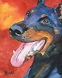 Doberman Pinscher Dog Fine Art Print on 100% Cotton Watercolor Paper