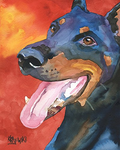 Doberman Pinscher Dog Fine Art Print on 100% Cotton Watercolor Paper