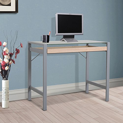 Generic O-8-O-4468-O Table D PC Laptop Writin Computer Desk k PC La Modern Wood Frosted Compute Writing Table Drawer d Glass Glass Steel NV_1008004468-TYQFUS32 by Generic