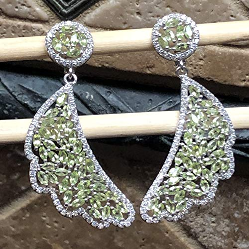 - Estate Genuine 40ct Apple Green Peridot, White Sapphire 925 Solid Sterling Silver Designer Earrings 60mm Long