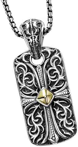 090cf24740a5dd Unkaged Engraved Cross Dog Tag Necklace With 18K Gold Center - Scott Kay  Mens Sterling Silver