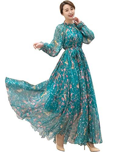 Medeshe Women's Long Sleeve Floral Holiday Beach Bridesmaid Maxi Dress Sundress (Blue Birds Flowers, M/L) ()