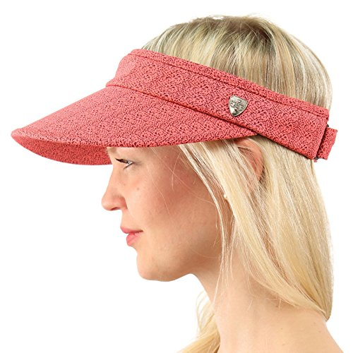 Cotton Dog Visor - UPF UV Sun Protection Wide Brim 100% Cotton Beach Pool Visor Golf Cap Hat Hot Pink