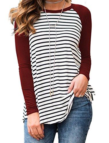 Tops Vin Baseball Tee Manches Shirt Dromild Raglan Blouse Rouge T Longues Tunique Stripe HvfwP