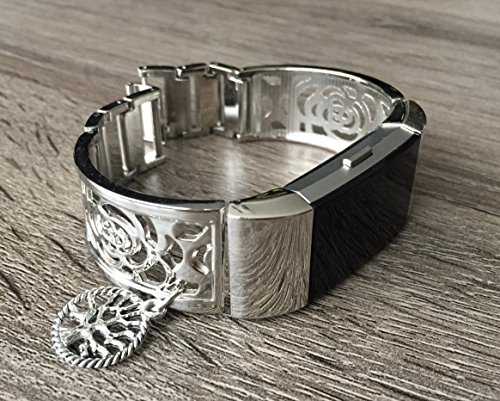 Jewelry Bangle Vintage Bracelet (Silver Metal Band For Fitbit Charge 2 Fitness Tracker Accessory Bangle Fitbit Charge 2 Women Bracelet With Silver Vintage Tree Of Life Spiritual Charm Adjustable Size Floral Design Fitbit Jewelry)