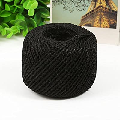 Y.P.Selected 50 Meters Colourful Hemp Natural Jute Twine Hessian String Cord 2mm (Black): Home & Kitchen